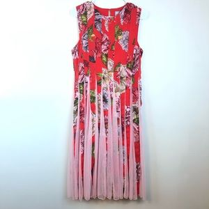 ASOS Pleated MIdi Dress Floral Red Sleeveless 6
